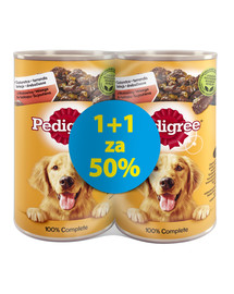 PEDIGREE Adult 1200 g skardinė 1 + 1 NEMOKAMAI - šlapias šunų maistas su jautiena želėje