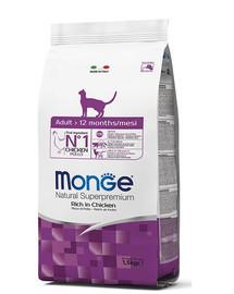 MONGE Cat Adult maistas suaugusioms katėms su vištiena 1,5 kg