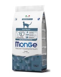 MONGE Monoprotein Cat Sterilised katiėms su upėtakiu 400g