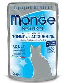 MONGE Kačių maistas Tunas su šprotais 80 g
