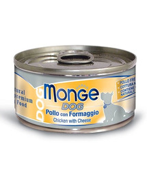 MONGE Natural Dog Šunų maistas Vištiena su sūriu 95g