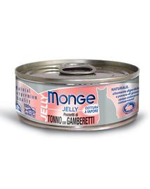 MONGE Jelly Cat Tunas su krevetėmis 80 g