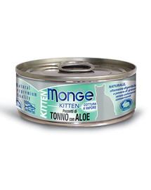 MONGE Kitten Jelly maistas kačiukams Tunas su alaviju 80 g