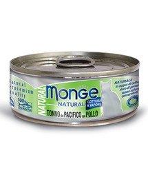 MONGE Natural Cat Geltonpelekis tunas su vištiena 80g