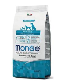 MONGE Hypoallergenic Šunų maistas Lašiša ir tunas 2,5 kg