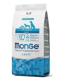 MONGE Light Šunų maistas Lašiša su ryžiais 2,5 kg