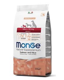 MONGE Mini Šunų maistas Lašiša su ryžiais 2,5 kg