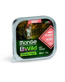 MONGE BWild Cat Adult Katės paštetas su lašiša 100 g