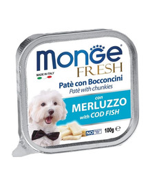 MONGE Fresh Šunų maistas Menkės paštetas 100 g