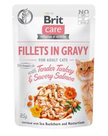 BRIT Care Cat Fillets in gravy 85 g kalakutienos ir lašišos filė padaže