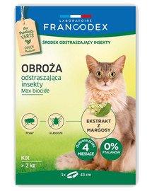 FRANCODEX Antkaklis nuo vabzdžių katėms, sveriančioms daugiau nei 2 kg, - 4 mėnesių apsauga, 43 cm