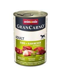 Animonda Grancarno Adult 400 g suaugusių šunų konservai su jautiena, triušiena ir zolelėmis