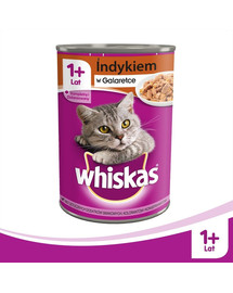 WHISKAS Adult 12 x 400 g skardinė - katės drėgnas maistas su kalakutu drebučiuose ir NEMOKAMOS kojinės