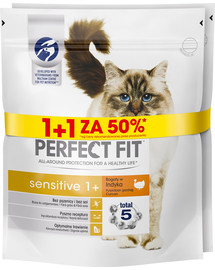 PERFECT FIT (Sensitive 1+) 750g x3 vnt. praturtintas  kalakutėna - sausas maistas katėms su jautria virškinimo sistema 1 + 50%