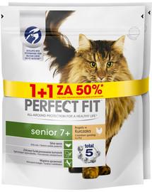 PERFECT FIT (Senior 7+) 750g x 3 vnt. gausu vištienos - sausas maistas vyresnio amžiaus katėms 1 + 50%
