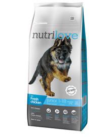 NUTRILOVE Premium dla psa Junior L su šviežia vištiena 12kg