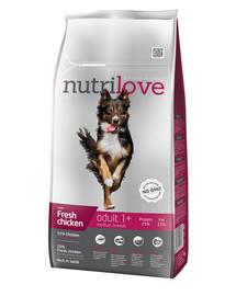 NUTRILOVE Premium dla psa Adult M su šviežia vištiena 8kg