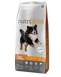 NUTRILOVE Premium dla psa Adult L su šviežia vištiena 3kg