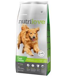 NUTRILOVE Premium  Mature +7 šuniui su šviežia vištiena 12 kg