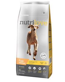 NUTRILOVE Premium Active šuniui su šviežia vištiena 12 kg