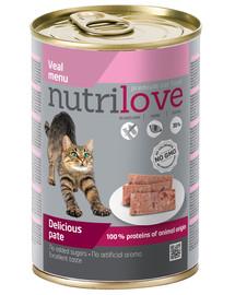 NUTRILOVE Premium Katės paštetas su veršiena 400g