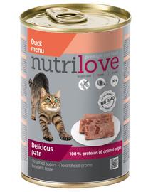 NUTRILOVE Aukščiausios kokybės ančių kačių paštetas 400g