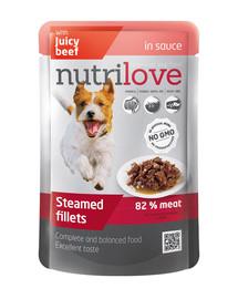 NUTRILOVE Premium mėsos gabaliukai padaže su jautiena šuniui 85g