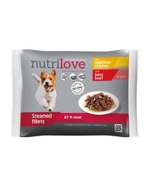 NUTRILOVE Aukščiausios kokybės mėsos gabaliukai padaže 2x su vištiena, 2x su jautiena šunims 4x85g