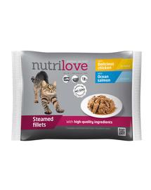 NUTRILOVE Premium 2x mėsos gabaliukai su lašiša, 2x vištiena  padaže 4x85g katėms