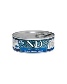 FARMINA N&D Cat Ocean sea bass, sardine, shrimps 80 g jūrų ešeriai, sardinės, krevetės