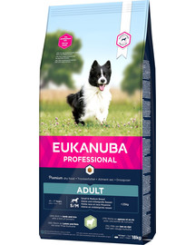 EUKANUBA PROFESSIONAL sausas maistas suaugusių mažų ir vidutinių veislių šunims, turtinga aviena ir ryžais 18 kg
