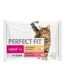 PERFECT FIT Adult konservai 24x85g – šlapias kačių maistas padaže (su vištiena ir žirneliais, su jautiena ir morkomis)