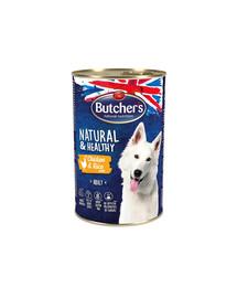 BUTCHER'S Natural&Healthy Dog su vištiena ir ryžių paštetu1200 g 3 + 1 NEMOKAMAI