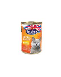 BUTCHER'S Natural&Healthy Cat su vištienos gabalėliais drebčiose 400 g 3 + 1 NEMOKAMAI