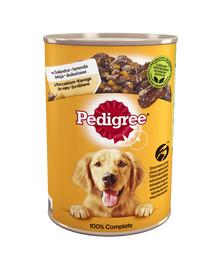 PEDIGREE Adult skardinė 12x400g - šlapias šunų maistas su vištiena ir morkomis drebučiuose+ NEMOKAMOS kojinės