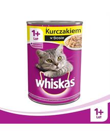WHISKAS Adult  12 x 400g - kačių šlapias maistas su vištiena padaže + nemokamos kojinės