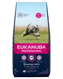 EUKANUBA PROFESSIONAL Growing Puppy Small Breed praturtinta šviežia vištiena 18 kg +  antklodė NEMOKAMAI