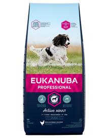 EUKANUBA PROFESSIONAL Active Adult Medium Breed praturtinta šviežia vištiena 18 kg +  antklodė NEMOKAMAI