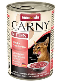 ANIMONDA Carny Kitten rinkinys jautiena / kalakutų širdelės 12 x 400 g