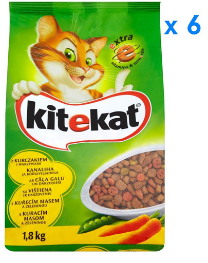 KITEKAT sausas maistas katėms su vištiena ir daržovėmis 1.8 kg x6