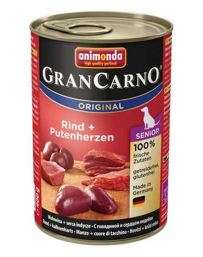 Animonda Grancarno Senior 400 g suaugusių šunų konservai su vištiena ir kalakutienos širdimis
