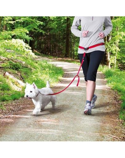 Trixie bėgimo diržas su nailoniniu pavadėliu raudonas
