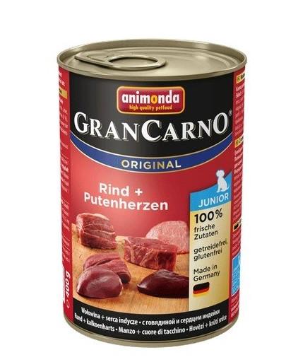 Animonda Grancarno Junior 400 g jaunų šunų konservai su jautiena ir kalakutų širdimis