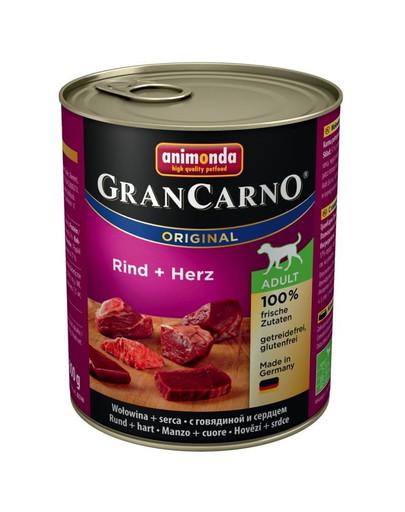 Animonda Grancarno Adult 800 g suaugusių šunų konservai su jautiena ir širdimis