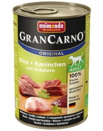Animonda Grancarno Adult 800 g suaugusių šunų konservai su jautiena, triušiena ir zolelėmis